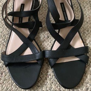 French Connection leather strapped wedge